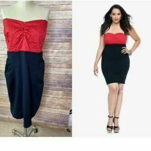 Torrid black and red body con tube dress